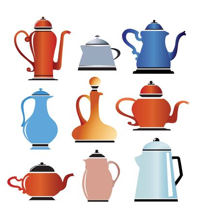 ladle: A set of silhouettes colored cookware color on white Illustration