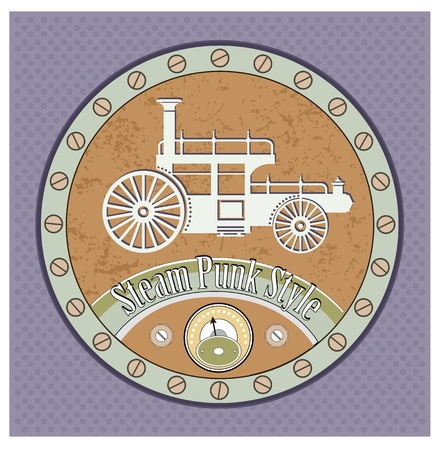 Retro car image in the style of steampunk Vector