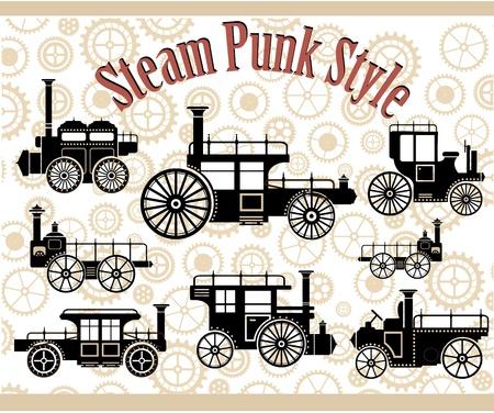 Eine Reihe von Silhouetten von Oldtimern im Stil des Steampunk