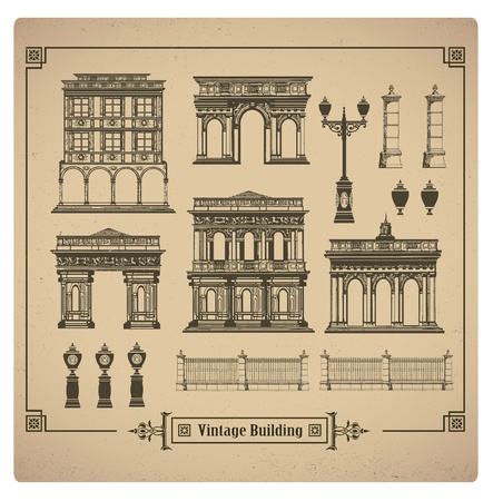 A set of vector images of urban retro buildings Illustration