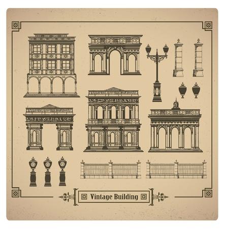 Un insieme di immagini vettoriali di edifici urbani retrò Vettoriali
