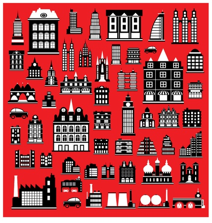 Various variants of houses on the red Vector