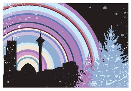 Christmas tree in the snow on the background of the city at night Stock Vector - 12481455