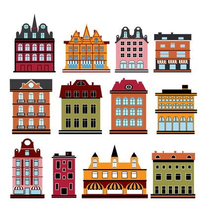 Various variants of houses on the white Illustration
