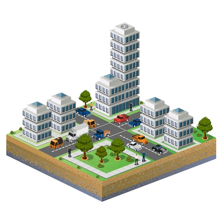 isométrica: Isometric image of a fragment of the city on a white background