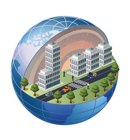 Un frammento del distretto urbano situato su una sezione del globo Vettoriali