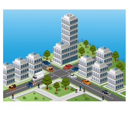 isom�trique: L'image isom�trique d'un fragment de la ville sur un fond color� Illustration