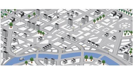 planlama: Şehrin izometrik vektör haritası