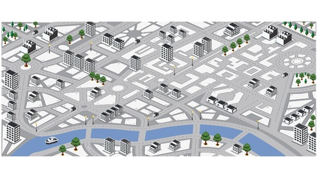 lands: Isometric vector map of city