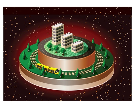 Isometric view of the urban quarter on the starry sky Vector