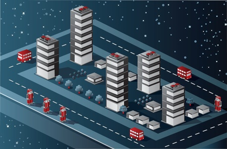 architecture model: Isometric view of the urban quarter on the starry sky Illustration
