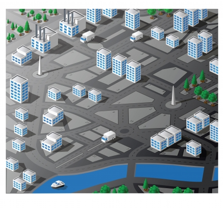 urban planning: Vector is an isometric map of the area of the city