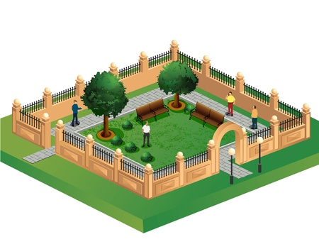 Isometric projection of the vector of urban garden Illustration