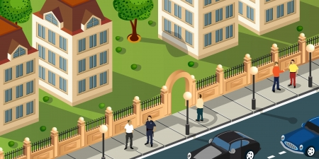 Isometric projection of the vector of the city with people and cars Vector