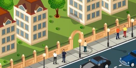 Proiezione isometrica del vettore della città con le persone e le auto