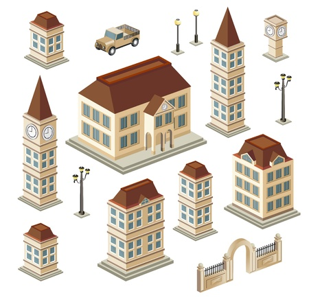 A set of urban and antique buildings in the isometric Stock Vector - 12481434