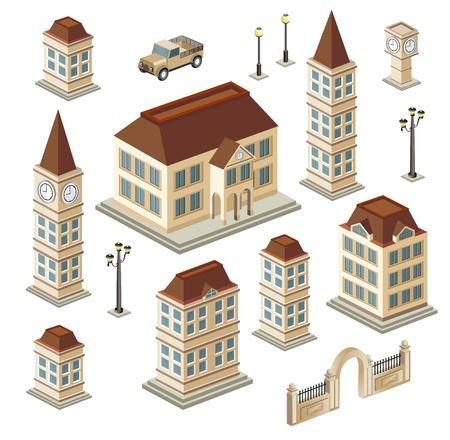 Un insieme di edifici urbani e antichi nel isometrica