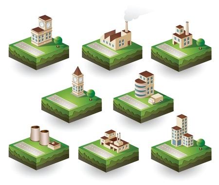 Set di icone vettoriali isometrici al tema della città