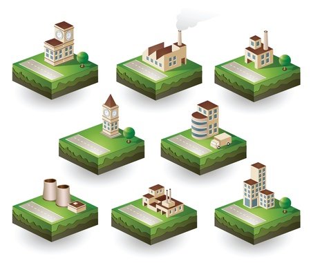 Set of vector icons isometric to the city theme Illustration