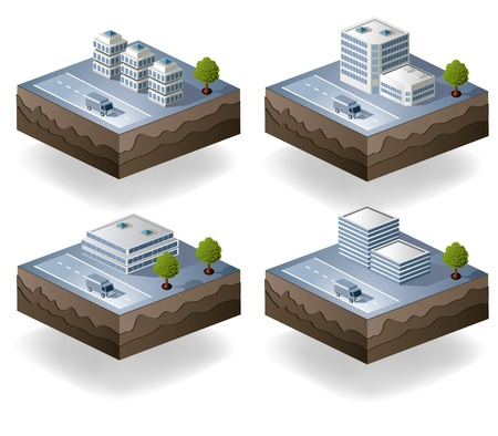 apartment block: Set of vector icons isometric to the city theme Illustration