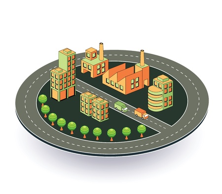 Industrial plant  in isometric view with the landscape Vector