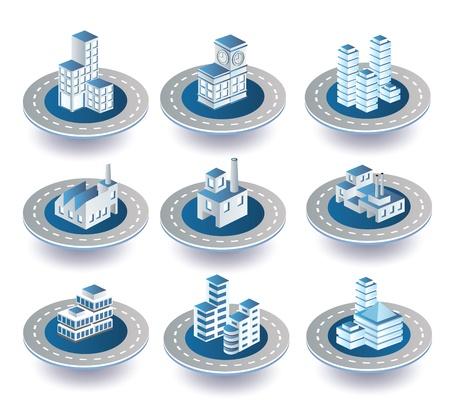 Set di icone vettoriali di isometrica sulla città Vettoriali