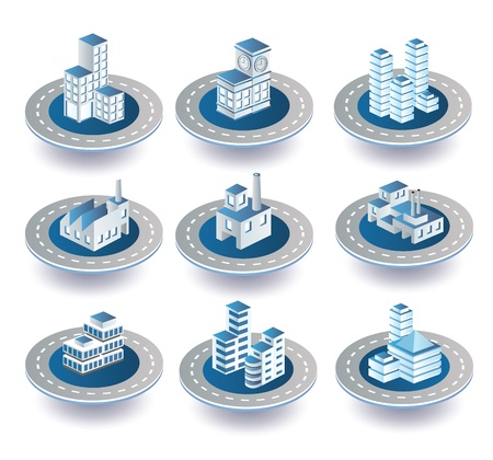 Set of vector icons of isometric on the city Vector
