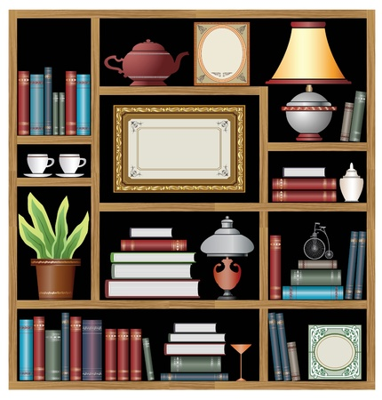 wooden shelf: The set of vector elements of domestic life
