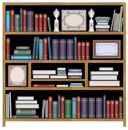 shelf with books: The set of vector elements of domestic life