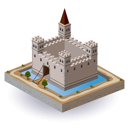 Proiezione isometrica del vettore di un castello medievale con un fossato e cancello