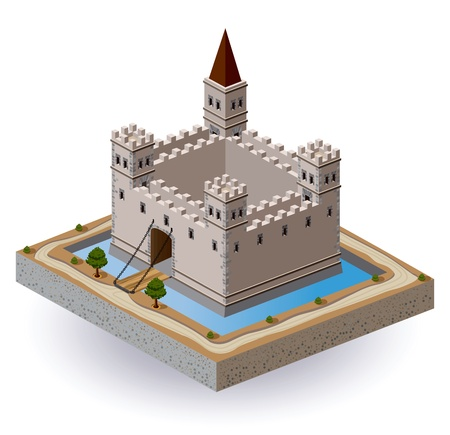 Projection isométrique du vecteur d'un château médiéval avec un fossé et la barrière Vecteurs
