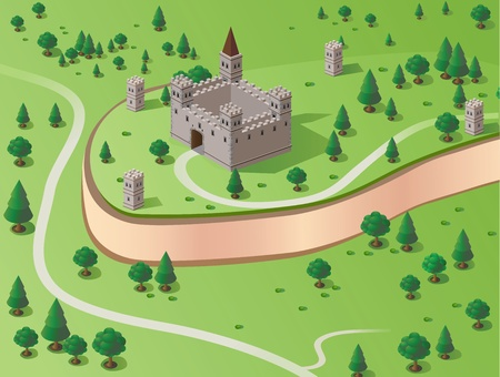 Vector drawing of the castle in the background section of the forest Stock Vector - 12481572