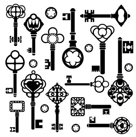 latchkey: Silhouettes set of keys and locks on a white