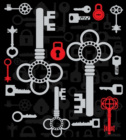 Silhouettes set of keys and locks on a black Stock Vector - 13180981
