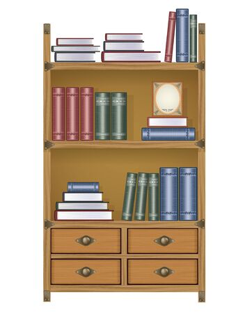 bookcase with books and boxes