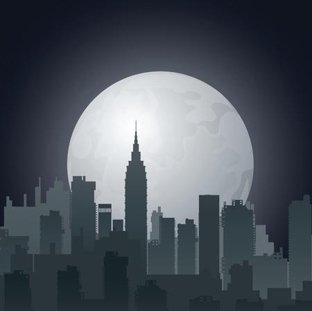 noche de la ciudad contra el sol de la tarde Ilustración de vector