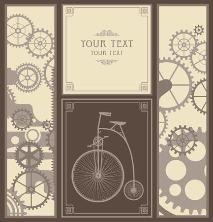retro bicycle: Los elementos del mecanismo sobre un fondo gris Vectores