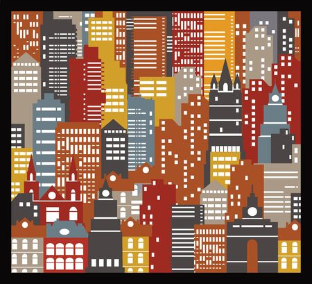 The background of many urban houses of different colors Illustration