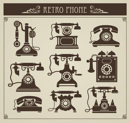 vintage telefoon: De set uitstekende telefoons op een grijze achtergrond