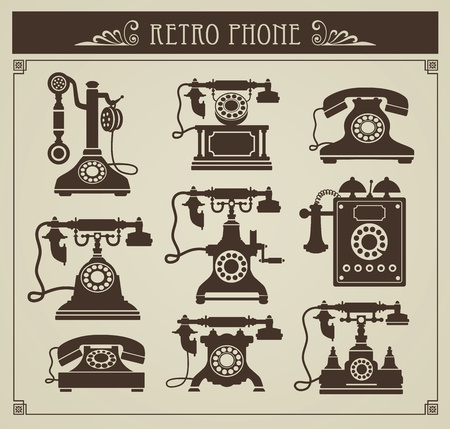 vintage telephone: The set of vintage phones on a gray background Illustration