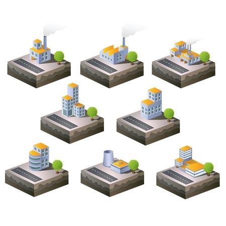 Set di icone isometriche al tema della città