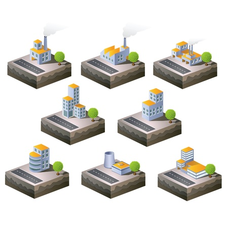 building activity: Set of icons isometric to the city theme Illustration
