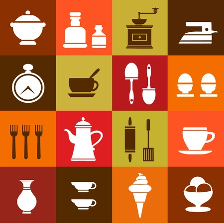 internet cafe: elements of household items on a colorful background Illustration