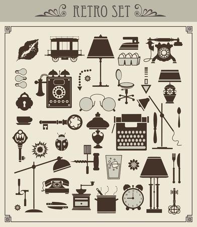 Een set van geïsoleerde vintage objecten Vector Illustratie