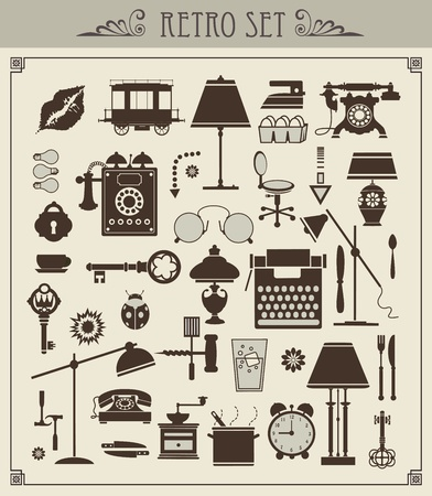 Un conjunto de objetos aislados de época Ilustración de vector