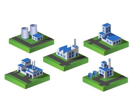 manufactory: Set of icons isometric to the city theme Illustration