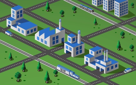 nuclear power station: Industrial plant  in isometric view with the landscape