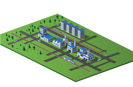Industrial plant  in isometric view with the landscape Stock Vector - 13181057
