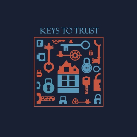 open shirt: fantasy with elements of keys and locks.Can be used for t-shirts. Illustration