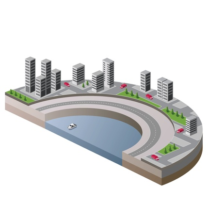 isometric view of the city to the quay and the ship Vector